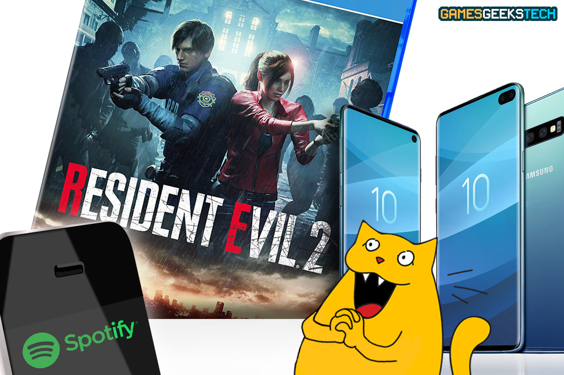GGT's cat mascot Gus looks happily at the Resident Evil 2 remake, a phone with Spotify on it, and the new Samsung S10 series.