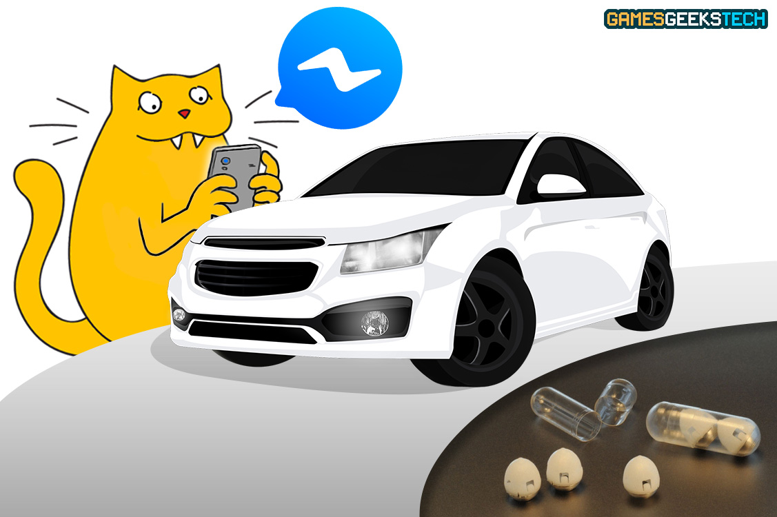 Yellow cat, GGT Gus, on his phone texting on Facebook Messenger while a white car drives by and pills sit under the road.