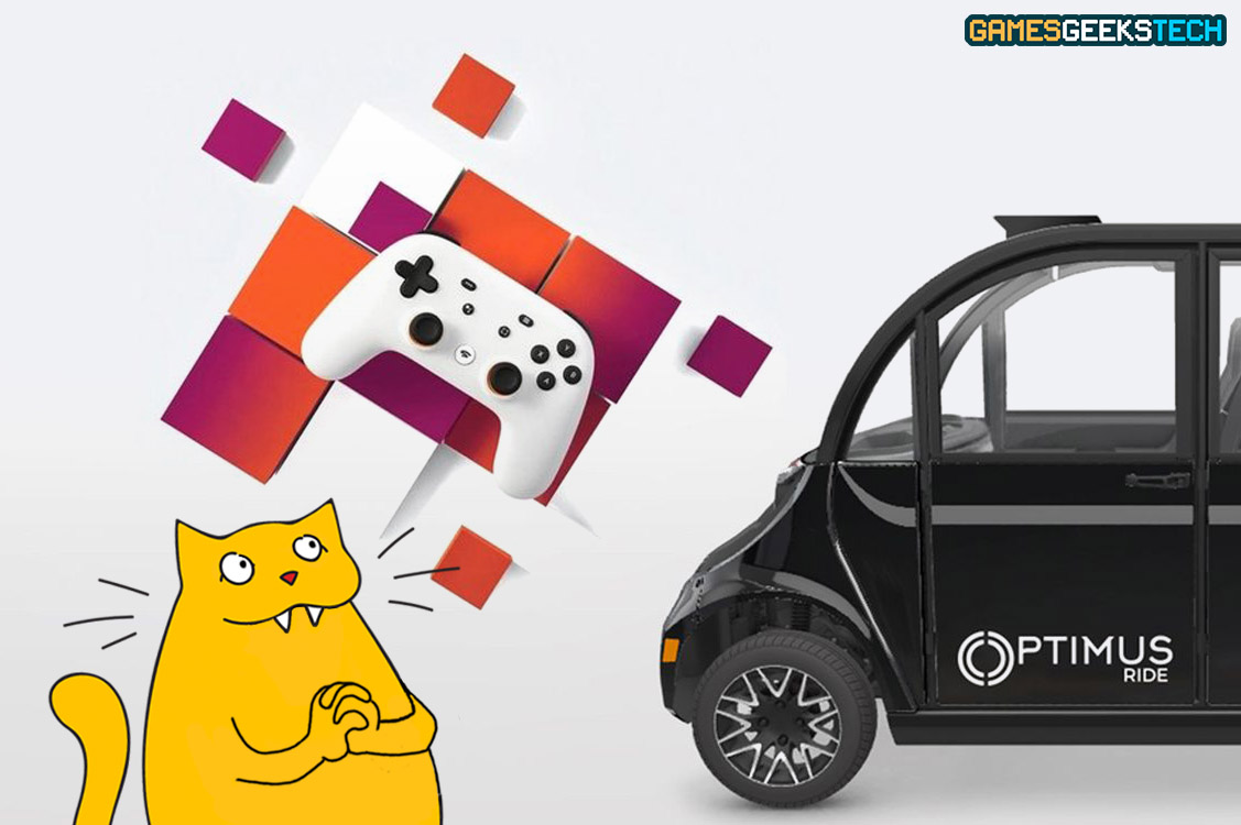 The GGT mascot cat smiles at images of Google Stadia and a self-driving car