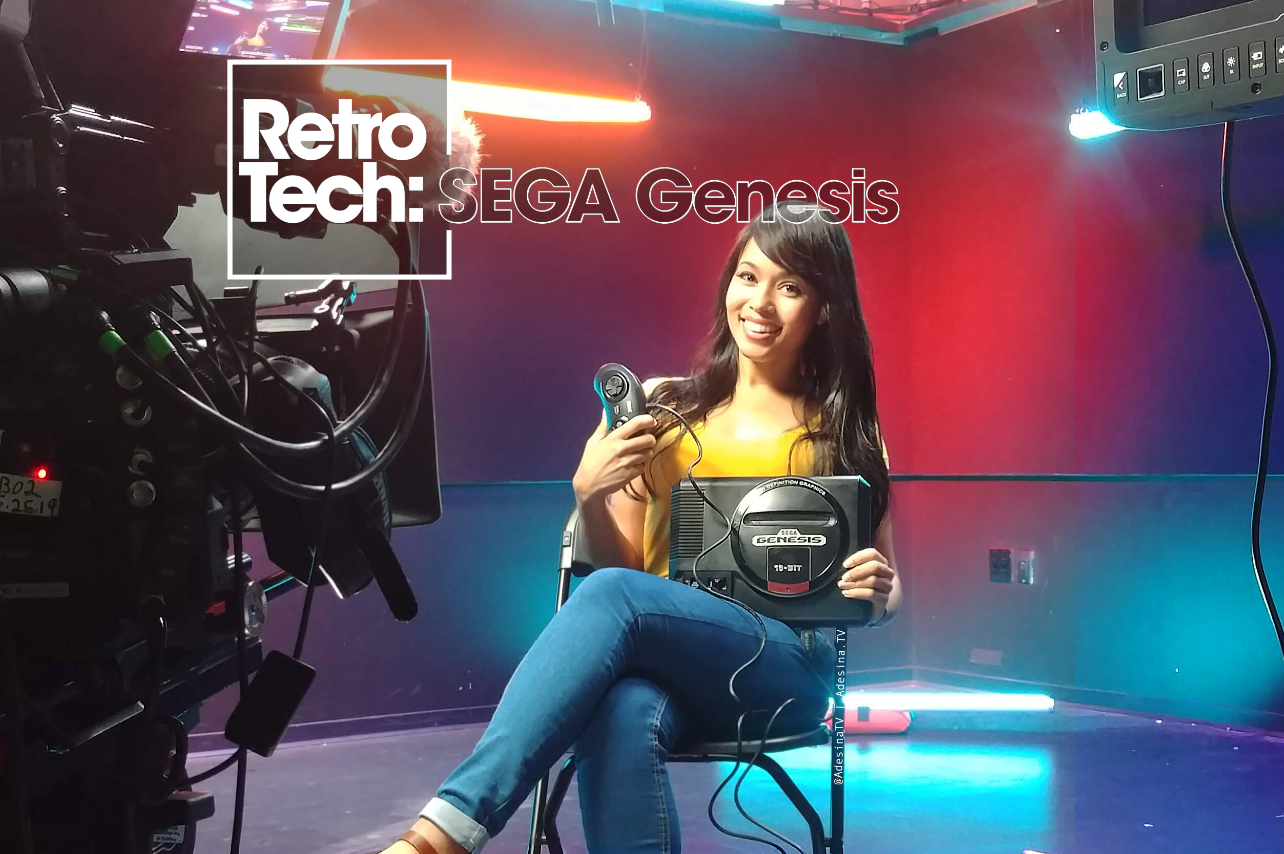Adesina Sanchez holds a Sega Genesis while on set